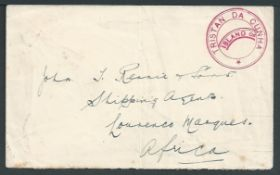 "Tristan Da Cunha 1928 Stampless cover to Lourenco Marques with the very scarce type Iva ""TRISTAN DA"