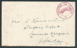 """Tristan Da Cunha 1928 Stampless cover to Lourenco Marques with the very scarce type Iva """"TRISTAN DA"""