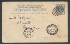 Bechuanaland 1895 1 1/2d Postcards (faults) from Taungs, both written by J.S. Moffat to his daughte