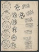 Transvaal c1900 Curious sheet of notepaper with impressions of the Registration cachet and instru...