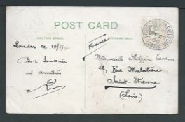 G.B. - Exhibitions 1908 (June 20) Picture postcard to France, the stamp having apparently falling o