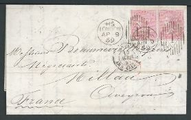 G.B. - Machines 1866 Entire letter to France franked 4d pair cancelled by Rideout machine duplex wit