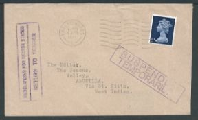 Anguilla 1969 (Apr. 4) Cover from G.B to Anguilla, returned handstamped with violet boxed