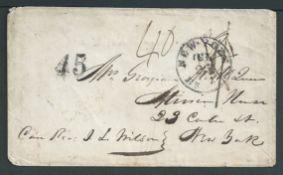"Great Britain - Transatlantic 1857 POSTAGE DUES/SHIP LETTERS: Cover endorsed ""Care Rev. I. L. Milso"