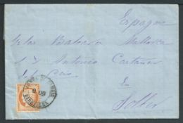 "France / Spain 1875 Entire letter from Cette with 1870 40c tied by double circle ""ADMON DI CAMBIO B"