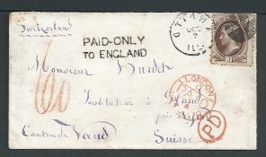 G.B. - Postage Dues / USA 1870 Cover from Ottawa, Illinois to Switzerland franked 10c with the unco