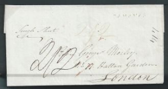 "Bahamas 1826 Entire from Nassau to London handstamped with the first type straight-line ""BAHAMAS"", e"