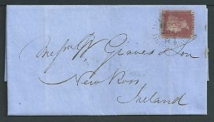 G.B. - Line Engraved Cancellations - Liverpool 1856 (Mar 29) Entire letter to Ireland bearing a 1d