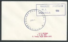 """Anguilla 1968 Covers to the U.S. Virgin Island with boxed """"VALLEY POSTAGE/W.I./ANGUILLA"""""""