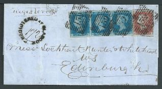 G.B. - Scotland / Registered 1850 Entire registered from Glasgow to Edinburgh franked by 1d red + 2d