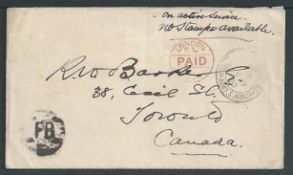 "Boer War 1900 Stampless cover to Canada with a Maple Leaf and ""CANADIAN CONTINGENT/1899-1900"" printe"