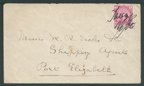 """Bechuanaland 1900 Cover to Port Elizabeth with Cape 1d cancelled by """"Taungs 18/6/00"""""""