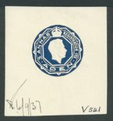 Aden 1937 Embossed DIE PROOF for the King George VI 3a registered envelope stamp