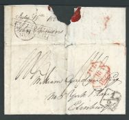 G.B. - Ship Letters - Hythe 1827 Entire (seal removed from reverse) backstamped with the very scarce