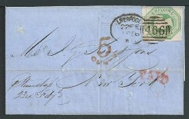 G.B. - Embossed Issues 1856 Entire letter to New York franked by embossed 1/-