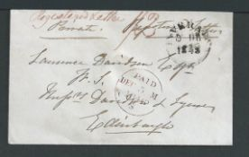 G.B. - Registered Mail 1846 Stampless registered cover from Inverary to Edinburgh with 2d postage a
