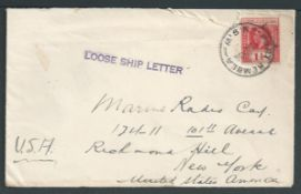 Gilbert & Ellice Islands / Australia 1936 Cover to New York from The British Phosphate Commissioner