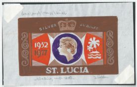 St. Lucia 1977 Artist a hand-painted drawing of the issued design for the Queen Elizabeth II Silver