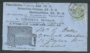 G.B. - Advertising 1880 Cover advertising pianos, organs and harmoniums for sale, with an illustrat