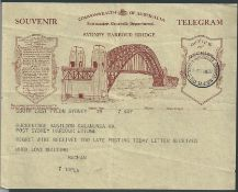 Australia 1932 Sydney Harbour Bridge souvenir telegram with S.E. Pylon c.d.s. (Mar 1) and the souven