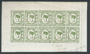 Labuan 1894 6c green imperforate Plate Proof sheet of ten in issued colour, on unwatermarked wove pa