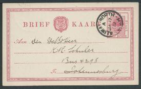 Boer War - O.F.S. Invasion of Cape 1900 O.F.S. 1/2d postal stationery Post Card to Johannesburg