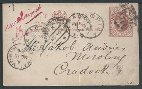 "Basutoland 1889 Cape 1/2d postcard (corner crease) cancelled ""277"" numeral"