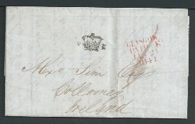 G.B. - Scotland 1841 Entire Letter from Glasgow prepaid 1d to Collooney with a fine strike of the s