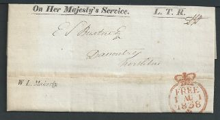G.B. - Frees 1838 Printed Entire Letter (horizontal file fold) to the Land Tax Registry with scarce