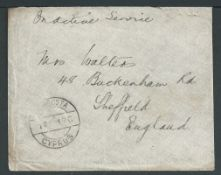 Cyprus 1919 Stampless On Active Service envelope (wear and tear) to England with fair FAMAGUSTA / C