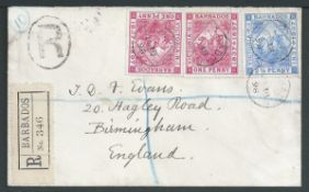 Barbados 1898 Registered cover to England bearing 1897 Diamond Jubilee issue 1d (2) and 2.1/2d.