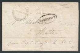 France / Malta 1836 Wrapper from Marseille 9th February 1835 to Malta with Malta mark on reverse.