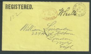 "G.B. - Registered Mail 1872 Stampless Cover with ""REGISTERED"" printed in the top left corner, addres"