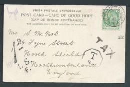 Cape of Good Hope 1906 Postcard to England with 1/2d cancelled at Alfred Docks / Cape Town taxed 1d