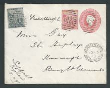 Basutoland 1893 Cape of Good Hope Q.V. 1d carmine Postal Stationery Envelope used with Cape Rectangu