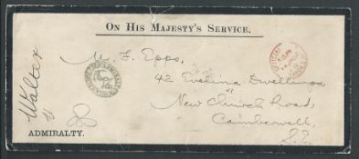 ROYALTY GB OHMS QUEEN VICTORIA GREENWICH HOSPITAL ADMIRALTY ANCHOR COVER 1902 cover and letter fr