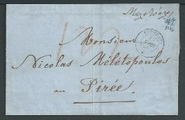 France - Maritime 1860 Entire from Marseilles to Piraeus with double circle datestamp of the Paqueb