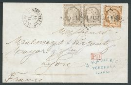 Japan / France Used Abroad 1875 (Oct 11) Entire to France bearing 1870-71 40c orange-yellow and ...