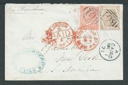 Egypt / G.B. Used Abroad 1873 Cover from Cario to New York with GB 4d vermilion plate 12 and 6d pale