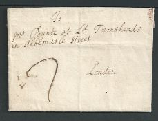 """Great Britain - Bishop Marks c.1720 Entire letter from Cambridge to London handstamped """"CAM / BRIDGE"""