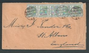 "Gold Coast 1895 Cover to England franked by five 1/2d stamps tied by four strikes of the ""PAID / LI"