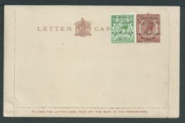 Great Britain - Ireland 1922 King George V GB 1 1/2d letter card with 1/2d stamp added with scarc...