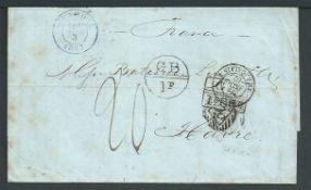"Accountant Marks / Madeira 1867 Entire from Maderia to France via England, with datestamps of ""FUNCH"