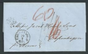 Danish West Indies 1859 Entire Letter from St. Croix to Copenhagen with Christiansted c.d.s. and va