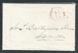 "Bermuda 1854 Stampless Mourning Envelope sent from St. George to Hamilton with a good ""ST. GEORGES"