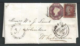 G.B. - Registered / Scotland 1855 Entire letter registered from Glasgow to Whitehaven franked 1d +