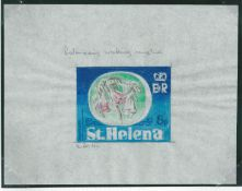 Saint Helena 1981 Endemic Plants - 5p Redwood - Original signed intermediate artwork incorporating c