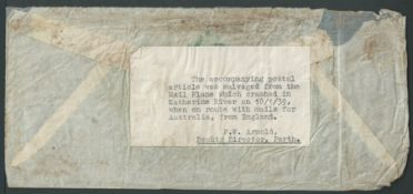 Egypt / Australia 1939 (Jan. 9) Cover from Cairo to Western Australia, the stamps washed off, the...
