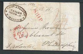 G.B. - Transatlantic 1820 Entire letter (file folds) from Liverpool to Philadelphia sent on the shi
