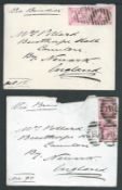 "Egypt 1870 Covers from E. J Pollard, Captain of H.M.S ""Rupert"" (one with crest on reverse), sent fr"